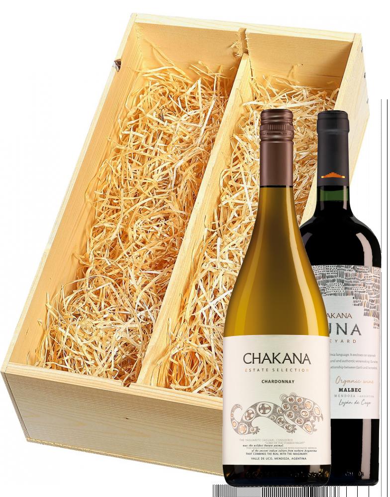 Wijnkist met Chakana Estate Selection Chardonnay en Chakana Nuna Malbec