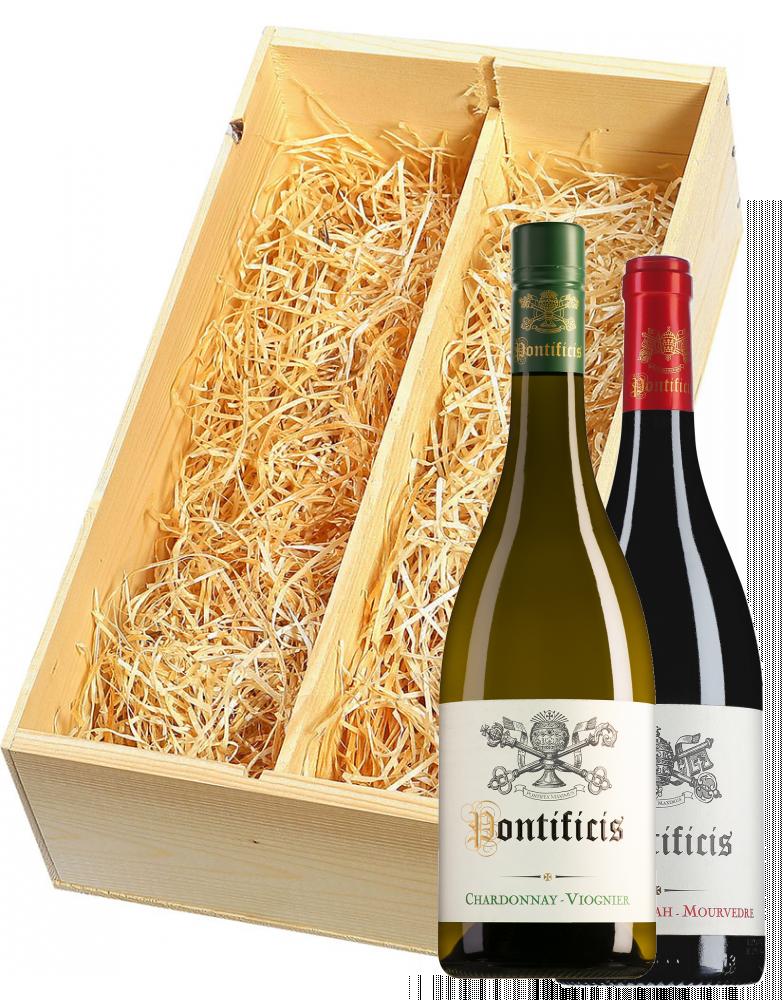 Wijnkist met Pontificis Pays d'Oc Chardonnay-Viognier en Grenache-Syrah-Mourvèdre