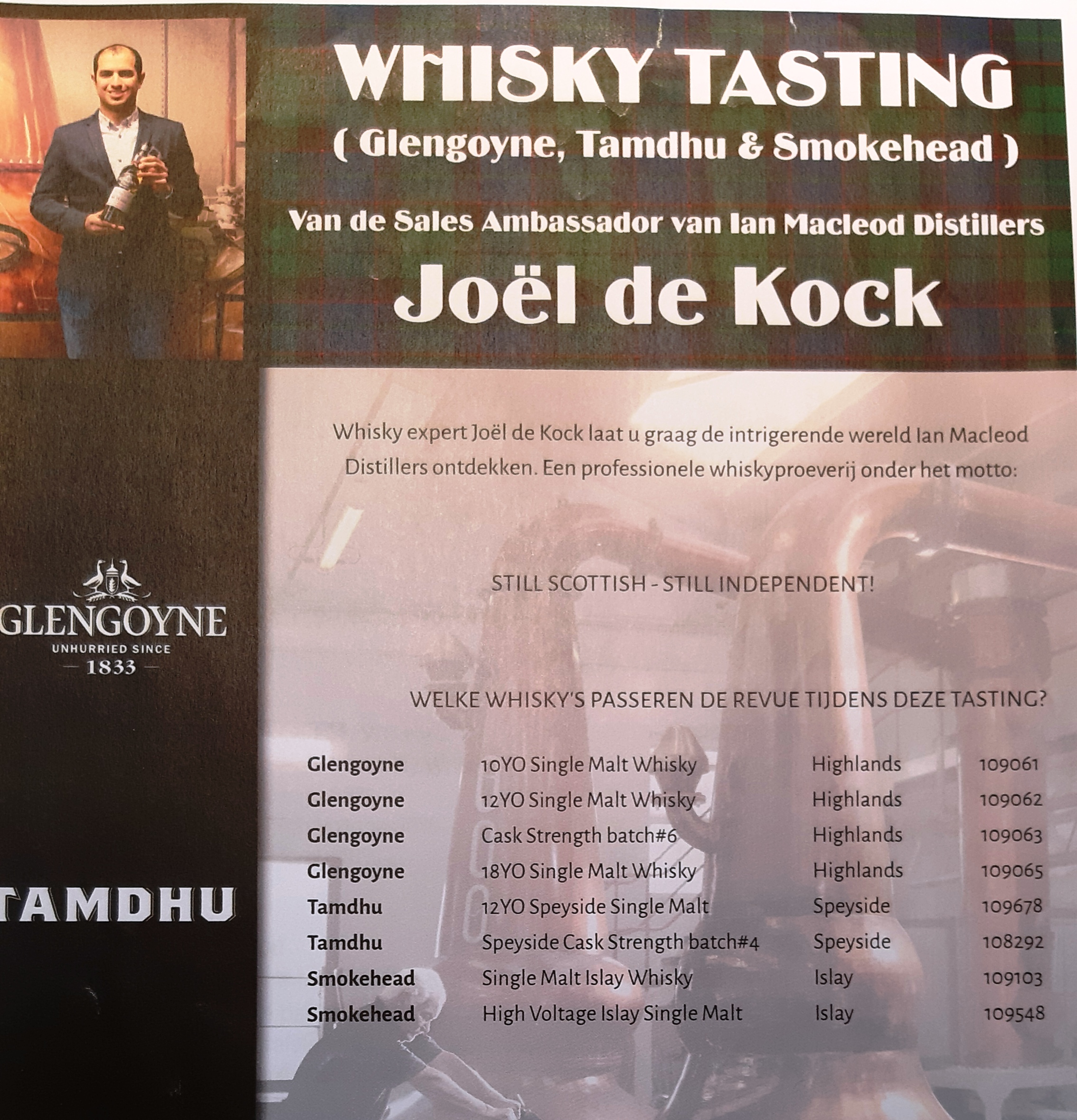 Whisky Proeverij  Woensdag 12 Februari