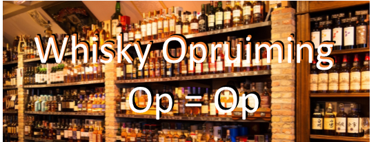 whisky opruiming,  op = op