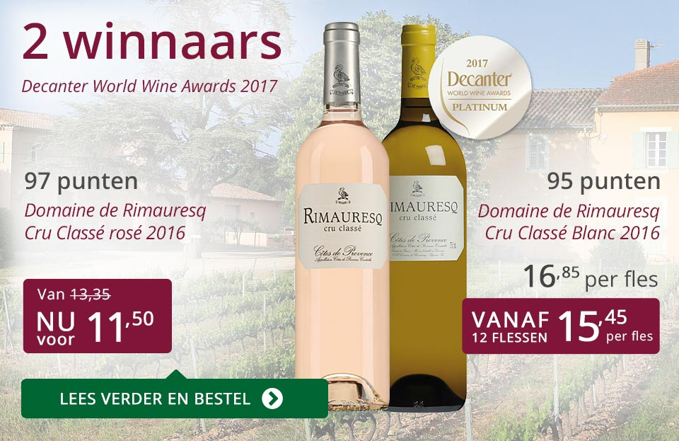 Twee winnaars Decanter World Wine Awards - paars