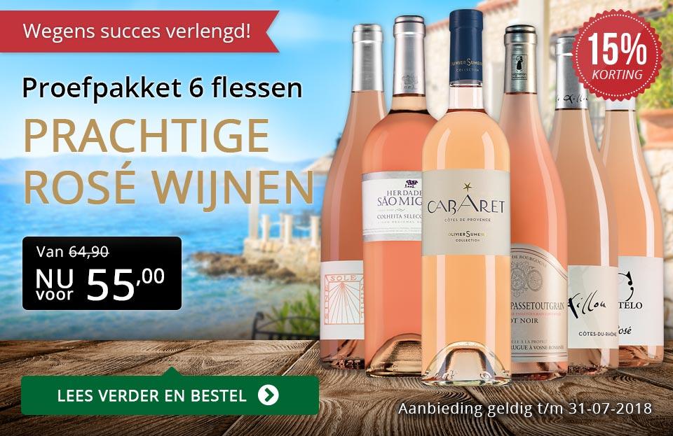 Proefpakket prachtige rosé wijnen (55,00) verlengd - goud/zwart