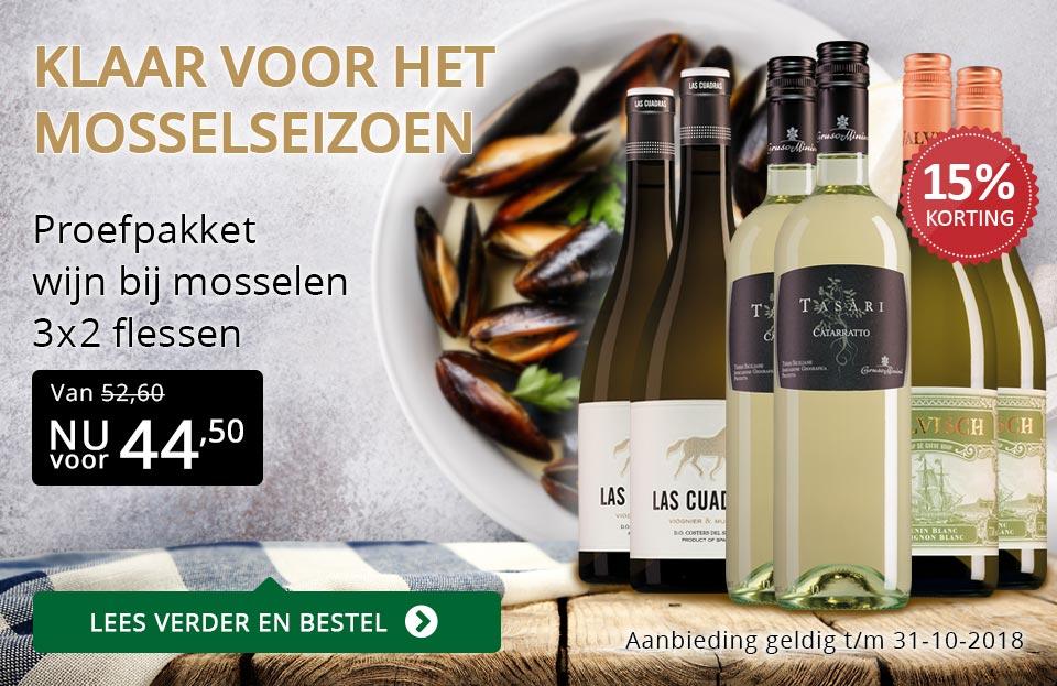 Proefpakket wijn & mosselen - goud/zwart