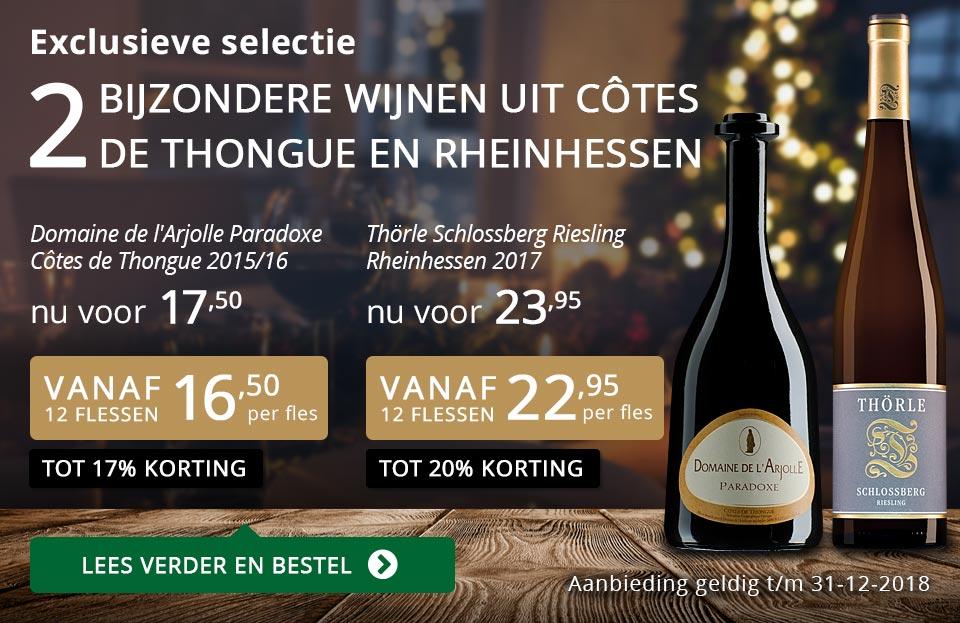 Twee bijzondere wijnen uit Côtes de Thongue en Rheinhessen december 2018 - goud/zwart