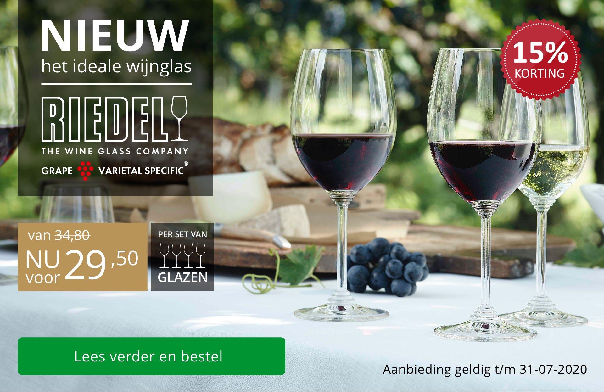 NIEUW: ideale wijnglazen van Riedel - zwart/goud