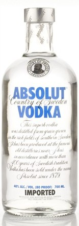 Absolut Blue vodka (70cl, 40%)
